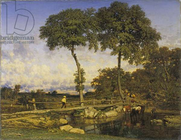 Crossing the Bridge, 1838 (oil on canvas)