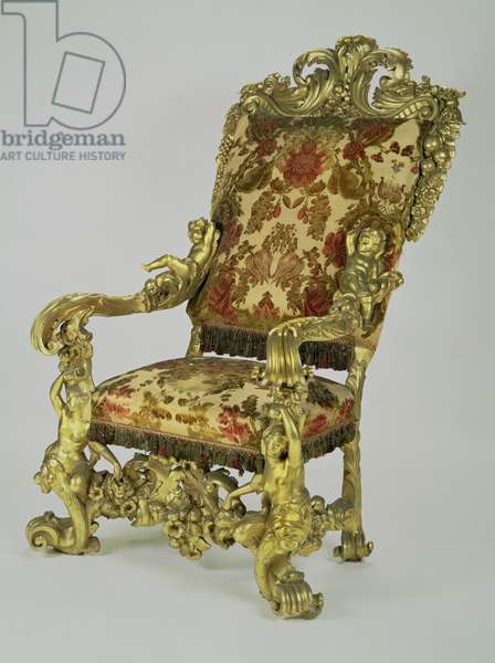 State chair with high slanting back, gilt
