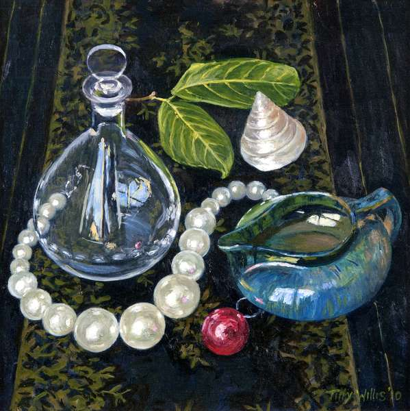 Still Life with Pearls (oil on canvas)