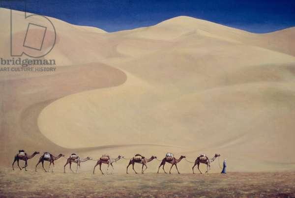 Camel Train (oil on canvas) 1993