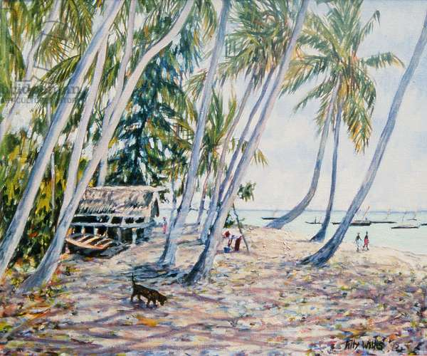 Rustling Palms, Zanzibar, 2002 (oil on canvas)
