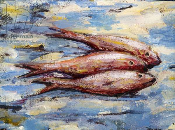 Three Fish (oil on canvas)