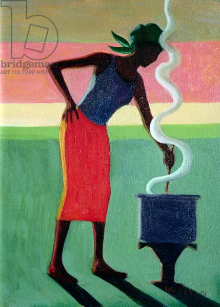 Cooking Rice, 2001 (oil on canvas)