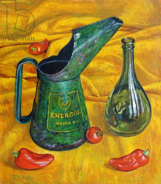 Oil Can with Red Peppers,2017,oil