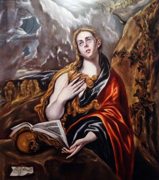Painting titled 'Saint Mary Magadlen in Penitence' by El Greco (1541-1614) a painter, sculptor and architect of the Spanish Renaissance. Dated 17th Century