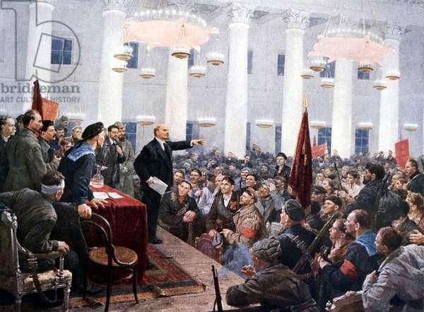 Russian Revolution, October 1917. Vladimir Ilyich LENIN (Ulyanov) 1870-1924, haranguing the deputies of the 2nd Soviet Congress in the Smolny Palace, St Petersburg (St Petersburg or Leningrad) WHA *** Local Caption *** 00483665