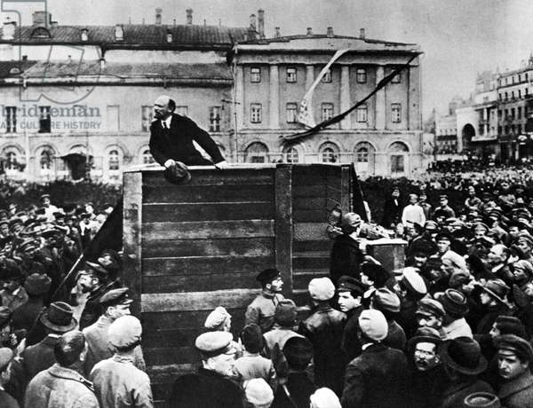 Lenin in Red Square. Vladimir Ilyich Lenin ( 1870 - 1924). Russian revolutionary and communist politician who led the October Revolution of 1917. Also headed the Soviet state during 1917-1924.  00724183