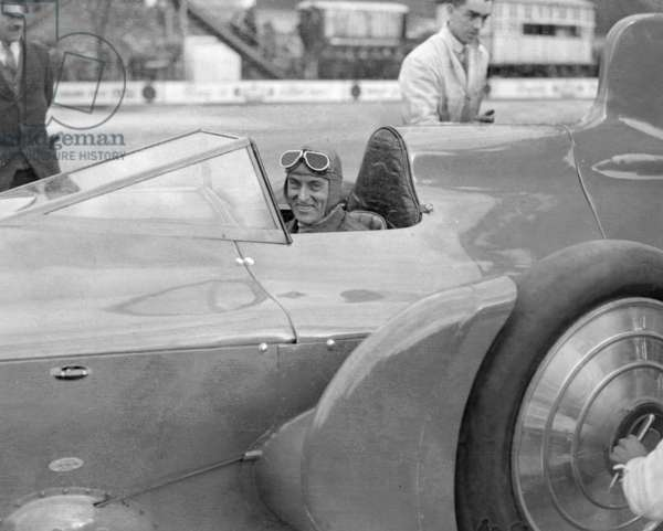 Sir Malcolm Campbell in cockpit of his car Bluebird at Brooklands track Easter Monday meeting March 28th 1932