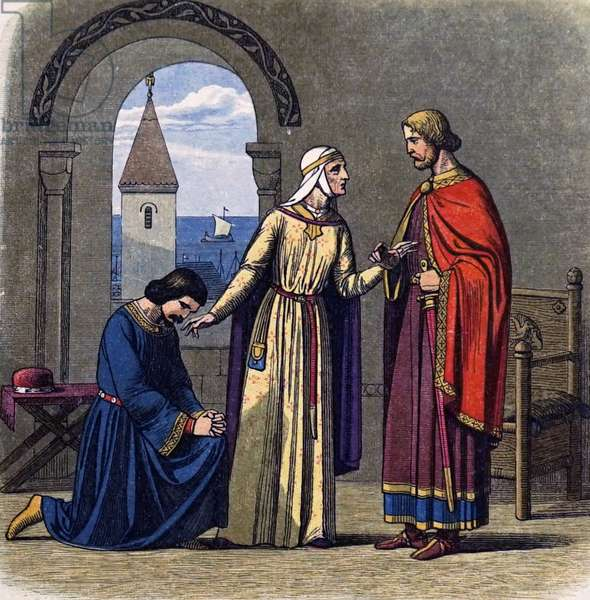 Eleanor of Aquitaine reconciling her sons Richard I and his heir John, by Jafnes Doy (colour printed wood engraving)