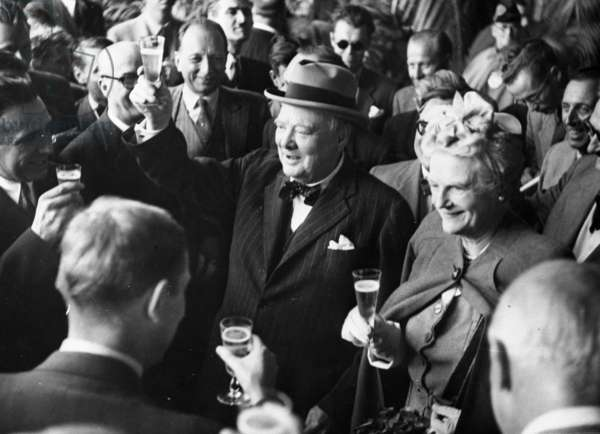Mr Churchill Arrives At Geneva Mr and Mrs Winston Churchill enjoy a joke and a drink at their reception in Geneva . 26th August 1946