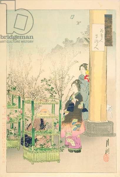 Flower Seller, Flower Arranger, from the series 'Gekko's Idle Brush', 1891 (colour woodblock print)