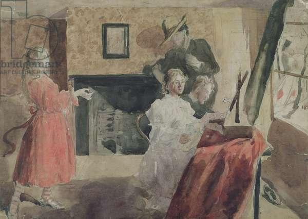 Portrait Group, 1897-98 (pencil, pen & w/c on paper)
