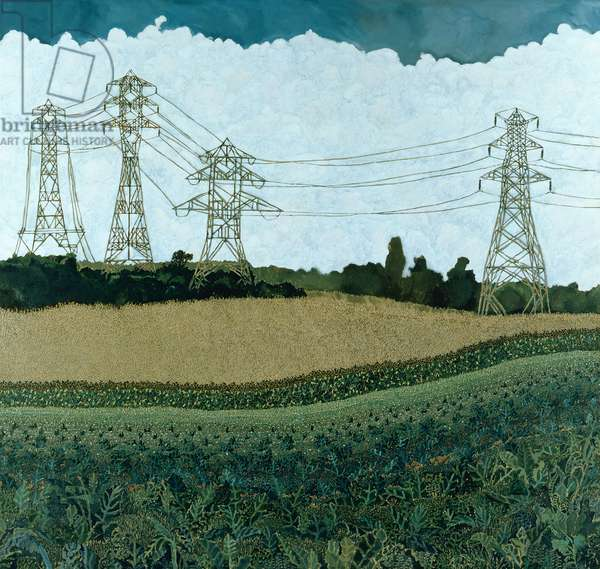 Landscape with Pylons (oil on canvas)