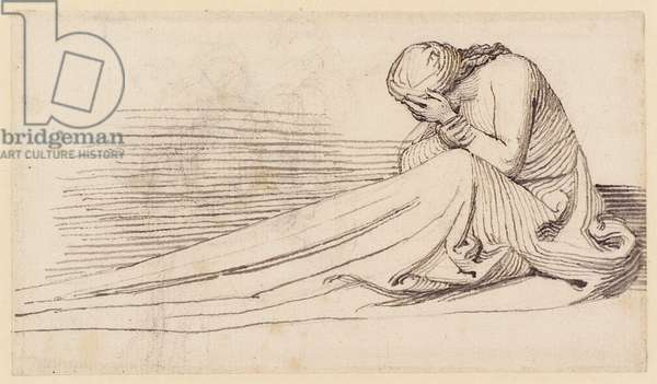 A Seated Female Figure in Long Drapery, Mourning (pencil, pen, ink & wash on paper)