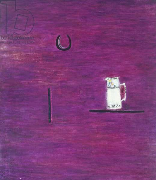 White Jug with Horseshoe, 1952 (oil on hardboard)