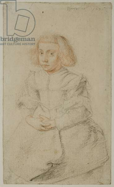 Study of a seated girl, 1635 (red & black chalk on paper)