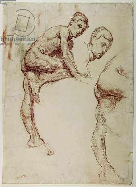 A Study of a Young Man Climbing, c.1898 (red & black chalk on paper)