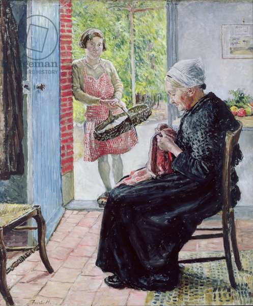 At the Thatched Cottage, 1921 (oil on canvas)