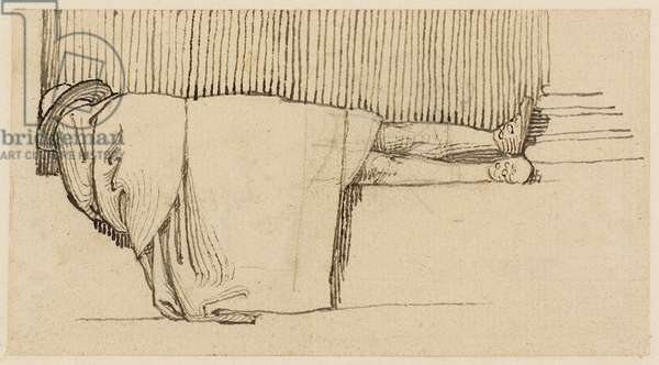 A Man in a Cloak Asleep on the Plinth of a Building (pencil, pen & ink on paper)