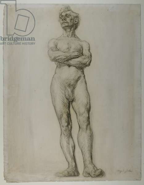 Study for a Male Nude Figure, Standing, 1897 (chalk on paper)