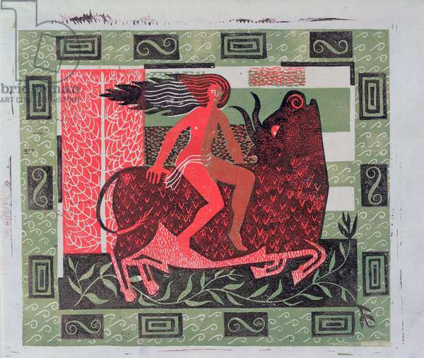Design in Red and Green (Europa and the Bull) 1949 (linocut)