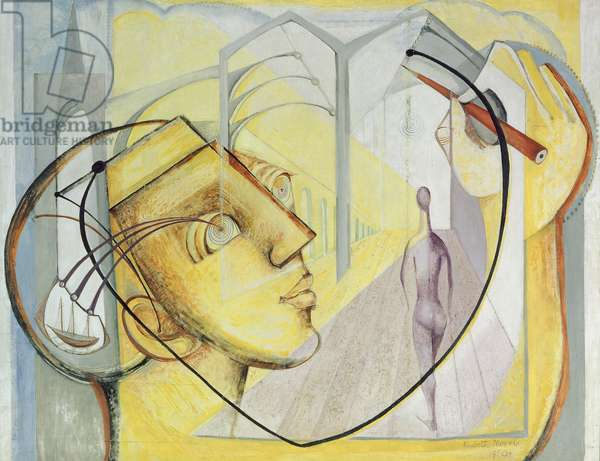 Abstract Composition with Head and Sailing, 1950 (oil on hardboard)