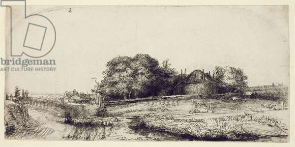Landscape with Haybarn and a Flock of Sheep, c.1652 (etching & drypoint on paper)
