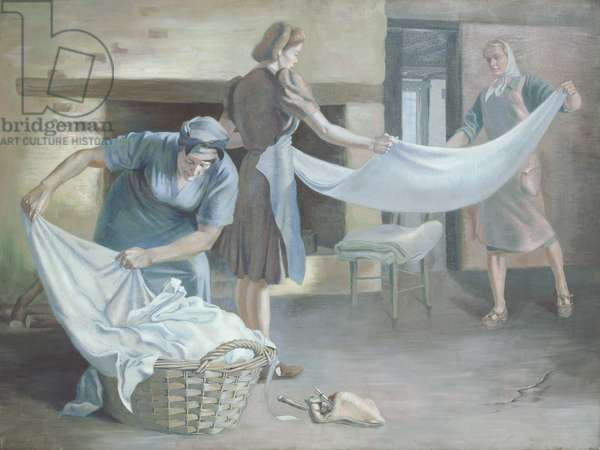 Manual Labour: An Interior with Three Figures Folding Laundry, 1943 (oil on canvas)