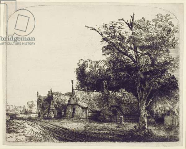 Landscape with Gabled Cottages beside a Road, 1650 (etching & drypoint on paper)