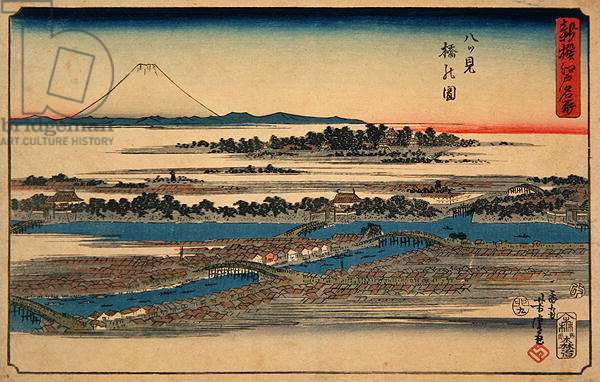 Picture of Eight-View Bridge, from the series 'Newly-selected Famous Place in Edo', 1855 (colour woodblock print)