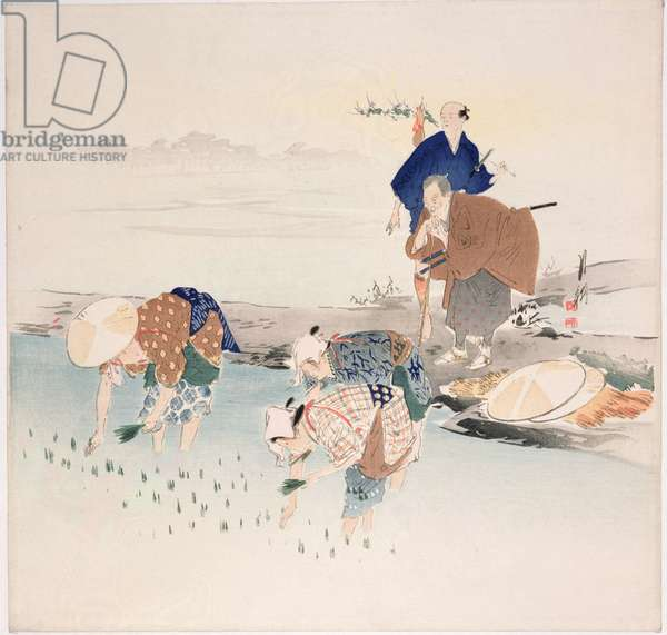 Rice Planting, c.1890s-1900s (colour woodblock print)