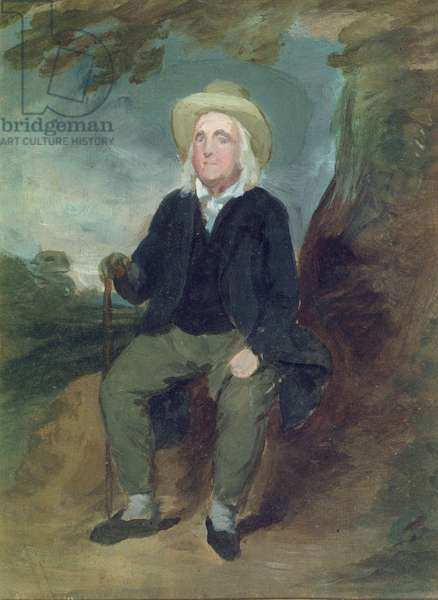 Jeremy Bentham in an imaginary landscape, 1835 (oil on paper)
