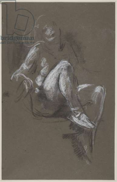 Seated Nude Girl wearing Ballet Shoes (chalk on paper)