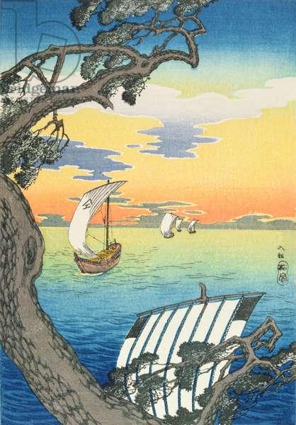 Returning Boats, c.1930s (colour woodblock print)