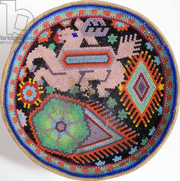 Huichol bowl from Sierra Madre, Mexico (textile)