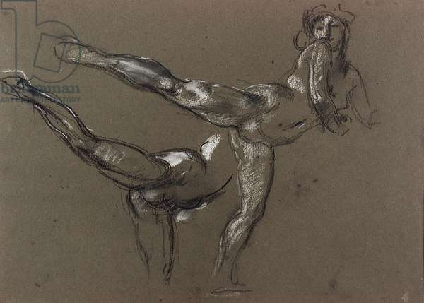 Two Studies of a Female Nude (chalk on paper)