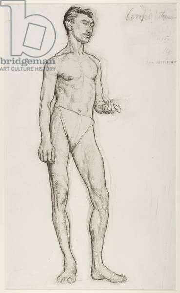 A Study of a Male Nude Figure, 1895 (chalk on paper)