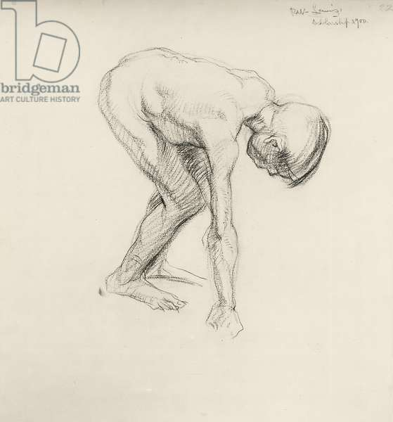 Stooping Nude Boy, 1900 (chalk on paper)