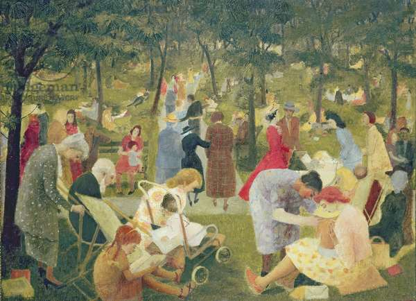 Figures beneath Trees: Park Scene, 1948 (oil on canvas)