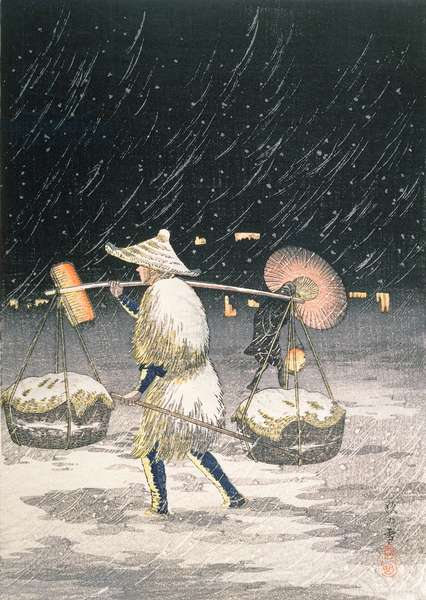 Night Snow, c.1930s (colour woodblock print)