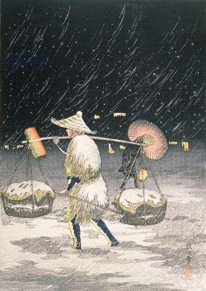 Night Snow, c.1930s (colour woodblock print)
