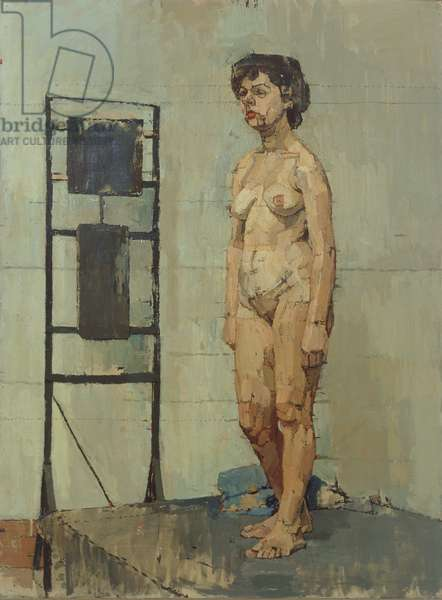 Female Figure Standing by a Heater, 1952 (oil on canvas)