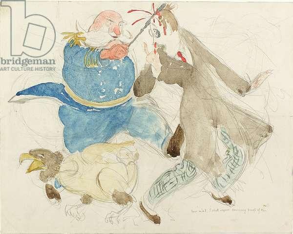 The Neutral: Uncle Sam and Von Turpitz (pen, ink, chalk & w/c on paper)