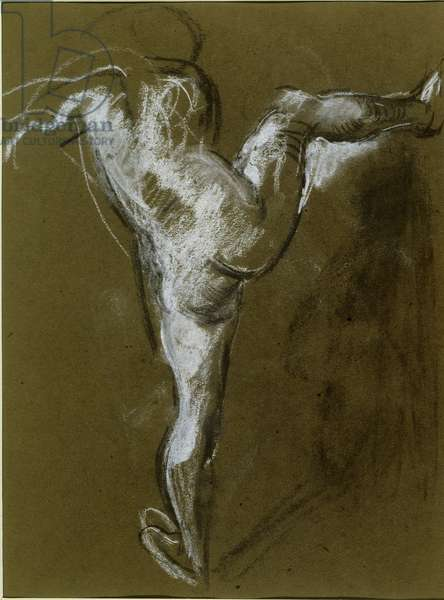 Nude Girl with Right Leg Raised (chalk on paper)