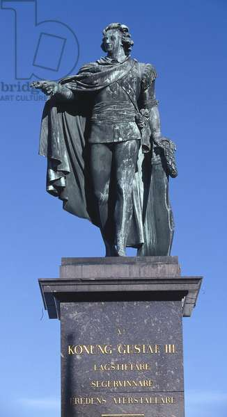 Statue of King Gustav III sculpted in 1799 in memory of the king who was murdered in 1792, Gamla Stan (The Old Town), Stockholm, Sweden (photo)
