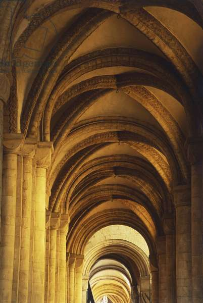 Great Britain, England, Durham, ribbed vaults of Durham Cathedral, low angle view.
