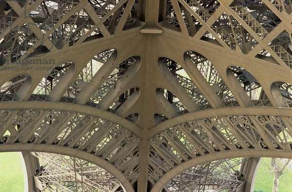 France, Paris, Eiffel Tower (La Tour Eiffel), lattice framework, close-up