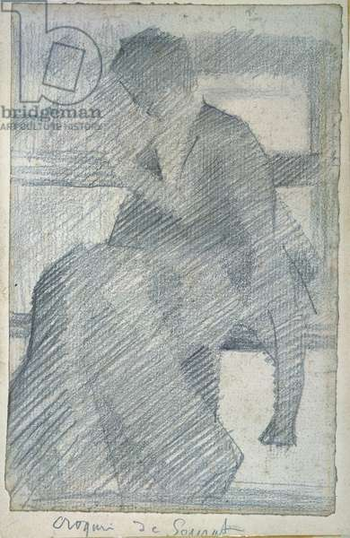 Woman on a Bench (Repairing her Coat), c.1880-81 (pencil on paper)