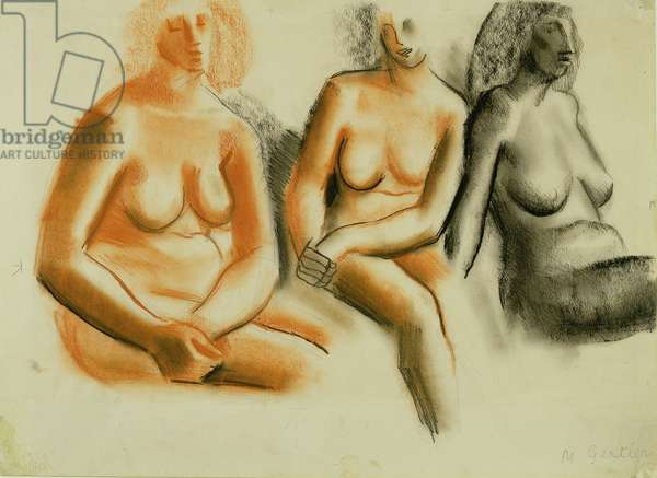Three studies of a seated nude, 1934 (crayon on paper)