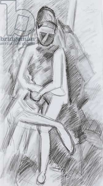 Seated female nude, 1909 (crayon on paper)
